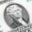 Thomas Jefferson. Qualitative portrait from 2 lucky dollars bill — Stock Photo #66880999