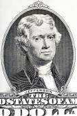 Thomas Jefferson close-up on the two U.S. dollar note. — Stock Photo