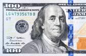 Close up of new hundred dollar bill. — Stock Photo