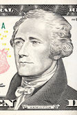 Alexander Hamilton portrait from ten dollar bill close-up. — Stock Photo