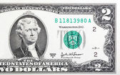 Two dollar bill issued in 2003 to commemorate the bicentenary U. — Stock Photo