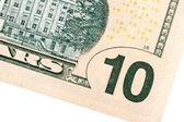 Ten US dollar denomination close up. — Stock Photo
