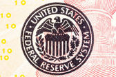 Federal Reserve icon on a ted dollar bill. — Stock Photo