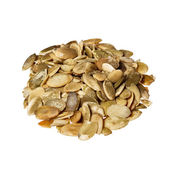 Pumpkin seeds on a white background. — Stock Photo