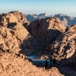 Egypt, Sinai, Mount Moses. View from road on which pilgrims climb the mountain of Moses and little mountain lake in valley. — Stock Photo #58613905