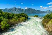 Harbour and mountain river at Boka Kotor bay (Boka Kotorska), Montenegro, Europe. — Stock Photo