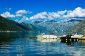 Harbour and yachts at Boka Kotor bay (Boka Kotorska), Montenegro, Europe. — Stock Photo