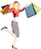Woman shopping vector — Stock Vector