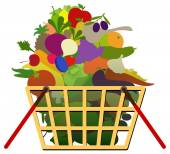 овощи и фрукты в корзинке — Cтоковый вектор
