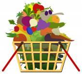 Legumes e frutas na cesta — Vetorial Stock