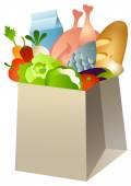 Groceries in paper bag — Stock Vector