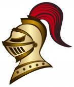 Golden Medieval helmet drawing — Stock Vector