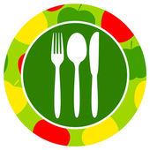 Healthy food icon apple — Stock Vector