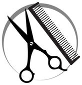 Hairstyle icon with comb — Stock Vector
