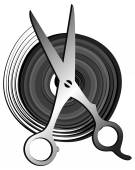Grey black hair scissors icon — Stock Vector