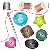 Needle & buttons, thimble & strings — Stock Vector