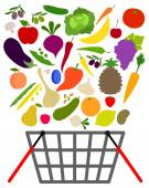 Fruits and veggies with shopping basket — Stock Vector