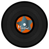 Vinyl record with star & text — Stock Vector