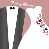 Funny wedding card with suite and dress — Vetor de Stock