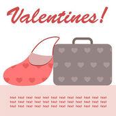 Valentine bag & suitcase — Stock Vector
