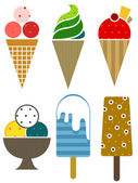 Colorful ice cream set icons — Stock Vector