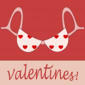 Valentine pink bra card — Stock Vector