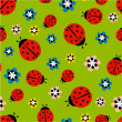 Ladybugs with flowers on green pattern — Stock Vector #63378593