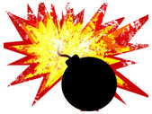 Bomb with explosion — Stock Vector