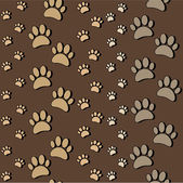Paws on brown seamless pattern — Stock Vector
