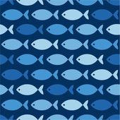 Blue fishes on blue pattern — Stock Vector