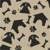 Dog house bone paw pattern — Stock Vector