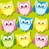 Colorful owls on green pattern — Stockvektor