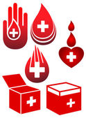Blood donation icons set — Stock Vector