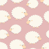 White sheep on pink pattern — Stock Vector