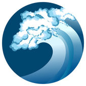 Blue wave in circle — Stock Vector
