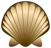 Gold sea shell — Stock Vector