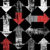 Grunge arrows on black pattern — Stock Vector