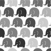 Grey elephants on white pattern — Stock Vector