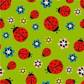 Lieveheersbeestjes met bloemen op groene patroon — Stockvector