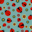 Ladybugs with flowers — Stock Vector #63932127