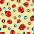 Ladybugs with flowers on yellow pattern — Stock Vector #63932165