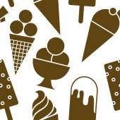 Ice cream brown icons seamless pattern — Stockvector