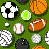 спортивные шары на зеленом образце — Cтоковый вектор