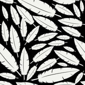 White feathers on black pattern — Stock Vector