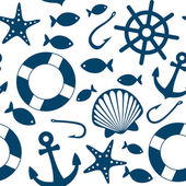 Blue sea icons seamless pattern — Stock Vector