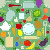 Vegetables and dishes on light green pattern — Stockvector