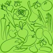 Vegetables outline on light green pattern — Stock Vector