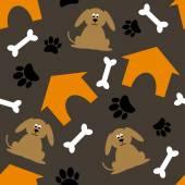 Orange house, bone, paw and  dog — Stock Vector