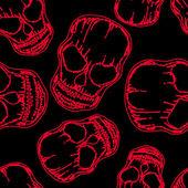 Red outline skull on black seamless pattern — Stock Vector