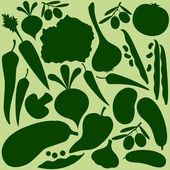 Vegetables silhouette on light green pattern — Stock Vector